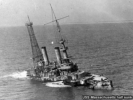 USS Massachusetts half sunk